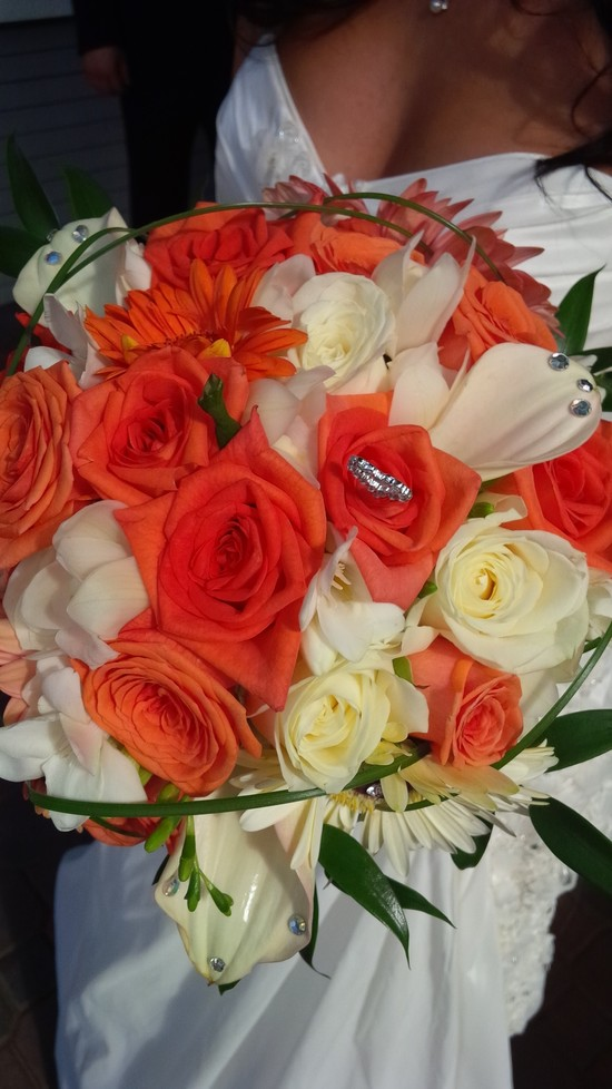 Orange and White Roses Bouquet