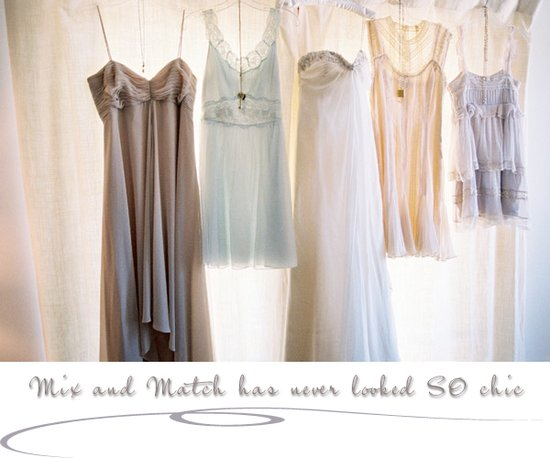 Mix and match metallic bridesmaids dresses