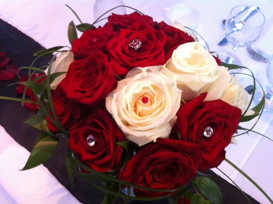 Classic Red and White Roses Bouquet