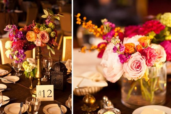 Wedding flower inspiration from Amy Osaba - Bright Reception Centerpieces