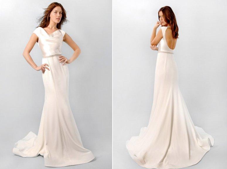 Ivory silk wedding dress with cowl neck inspired by pippa for Satin cowl neck wedding dress