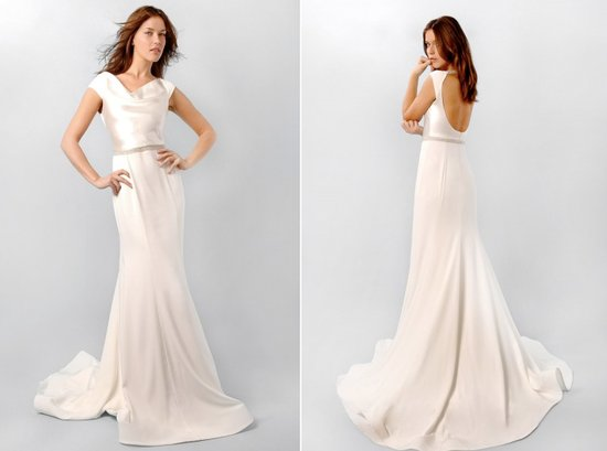 Ivory silk wedding dress with cowl neck, inspired by Pippa Middleton