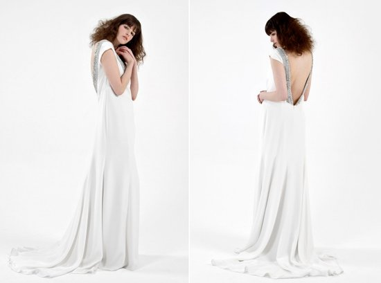 Vintage-inspired wedding dress with open back