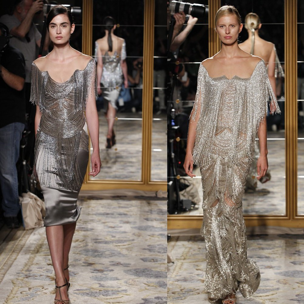 Metallic pewter and gold bridesmaids' dresses
