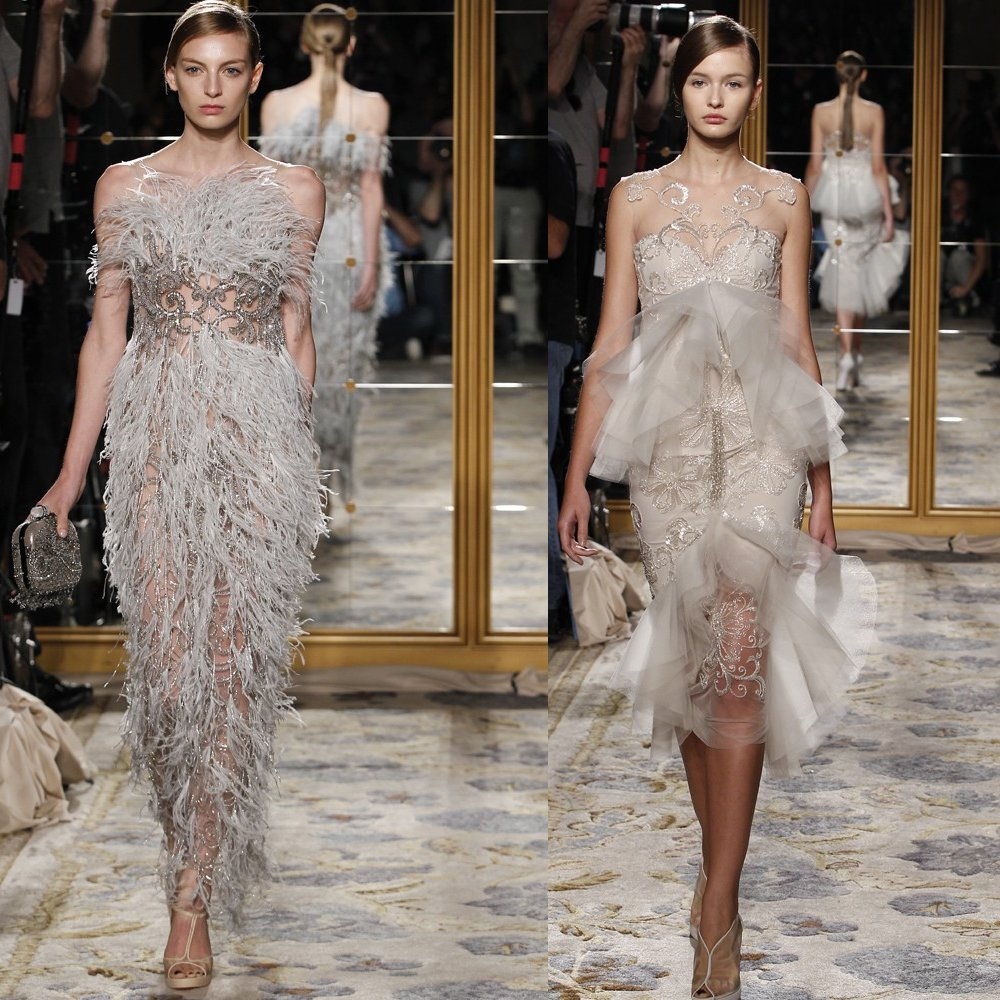 e90da0f2c600be Vintage-inspired Marchesa wedding dress and reception dress with feather  and beading embellkishement