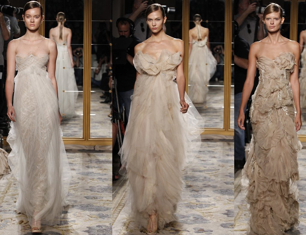 Nude toned Marchesa wedding dresses with beading and illusion fabric