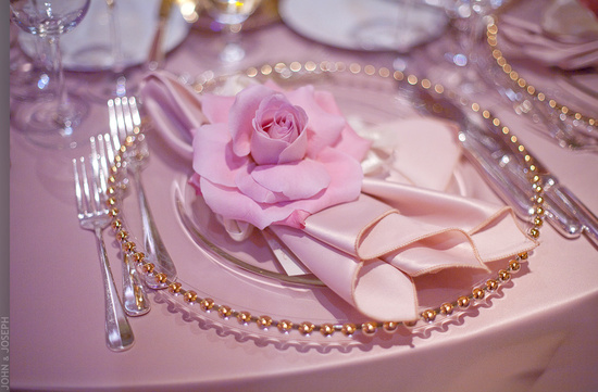 California wedding- elegant, romantic wedding reception place setting