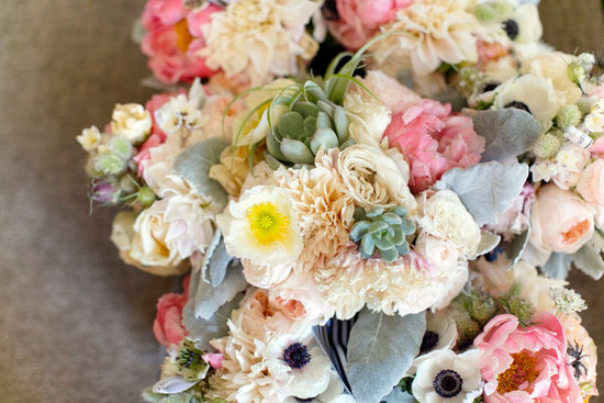 photo of romantic wedding bouquets with peonies anemones dahlias succulents lambs ear and more