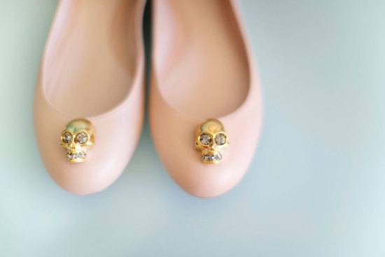 photo of peach ballet flats wedding shoes by Alexander McQueen
