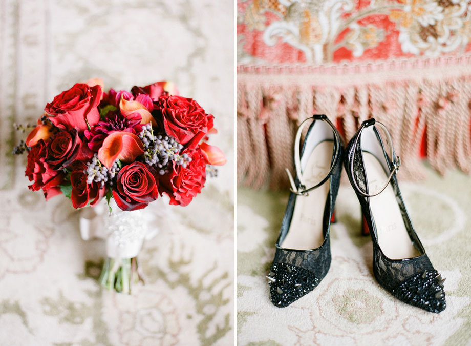 Classic Bridal Heels and Red Bouquet