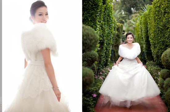 California bride wears fur bridal bolero