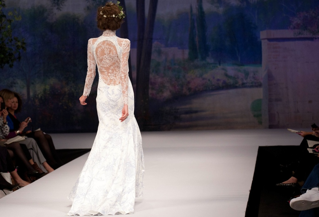 Claire Pettibone wedding dress, Fall 2012- patterned mermaid with sheer lace sleeves, back
