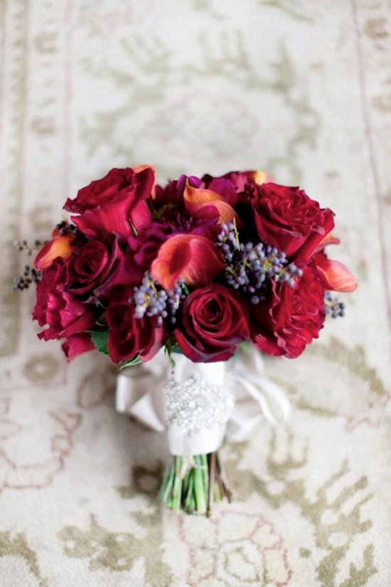Romantic Deep Red Wedding Bouquet With Crystal Embellished Ribbon