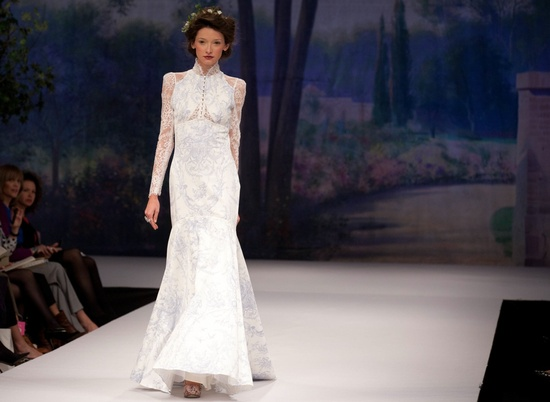 Claire Pettibone wedding dress, Fall 2012- patterned mermaid with sheer lace sleeves