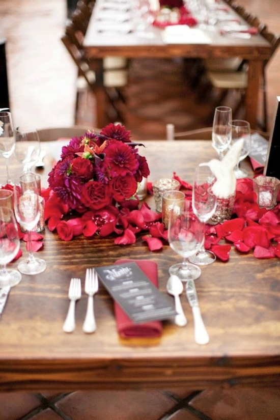 Outdoor Wedding Reception With Deep Red Flowers