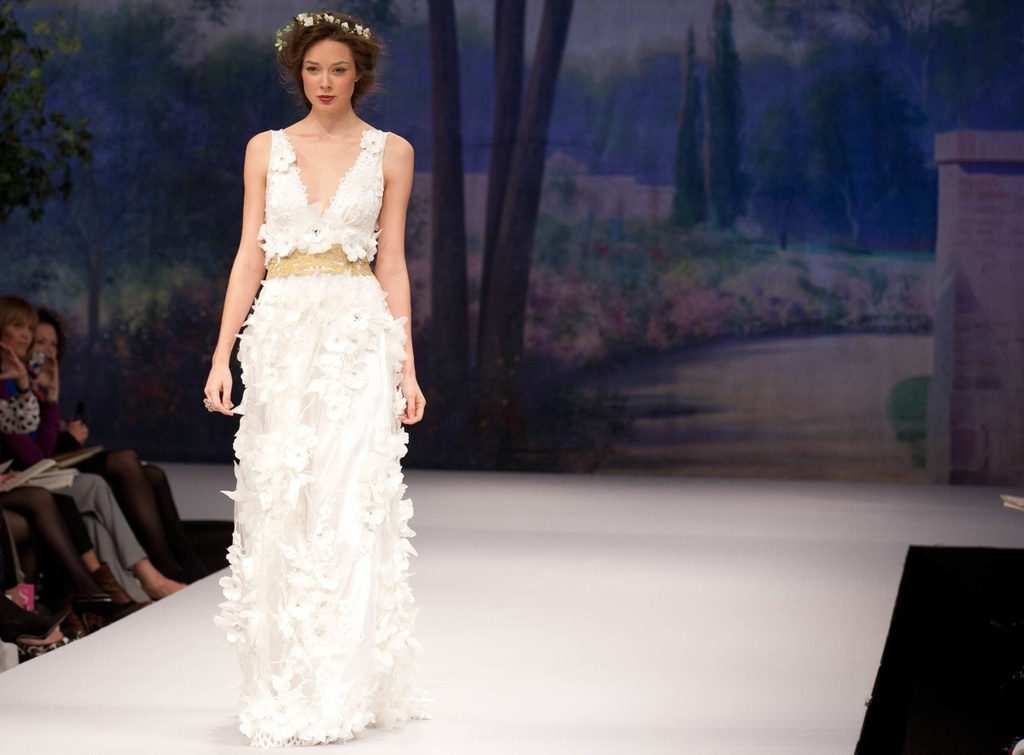 Claire Pettibone wedding dress, Fall 2012- v-neck modified a-line