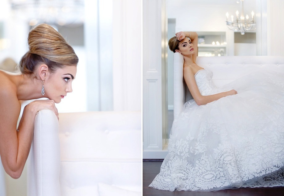 Bridal beauty portraits modern beehive wedding hairstyle