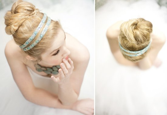 high bridal bun wrapped with something blue ribbon