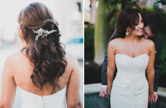 Half Up Wedding Hairstyle With Crystal Bridal Comb