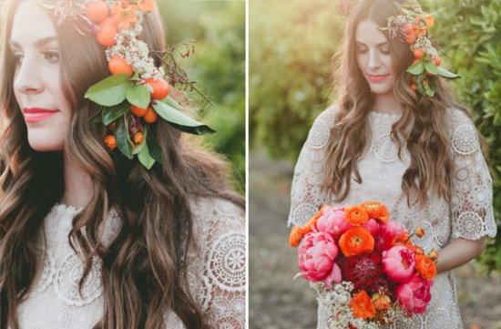 all down wedding hairstyle with fall floral headpiece