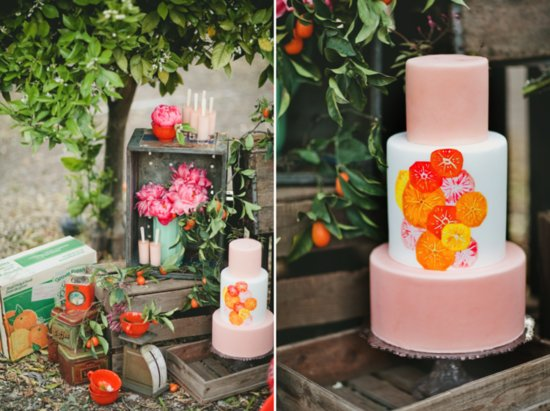 orange peach and white wedding cake for fall