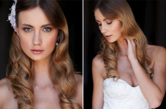 Romantic Silky Waves Wedding Hairstyle With Whimsical Flower Accent