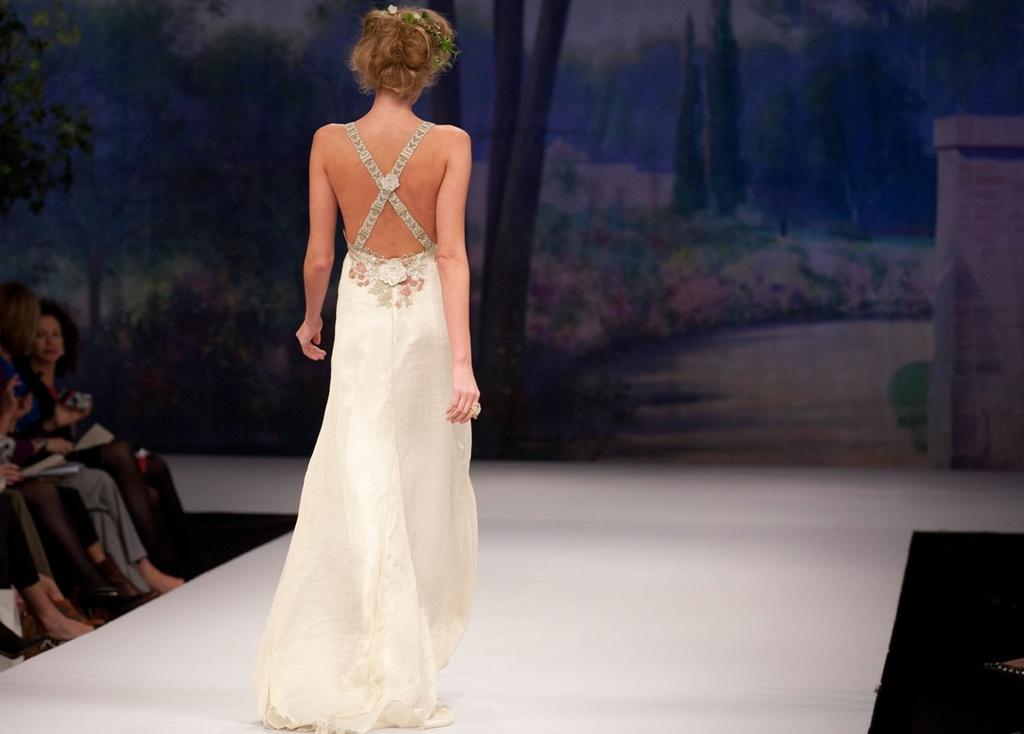 Claire pettibone wedding dress fall 2012 criss cross back for Cross back wedding dress