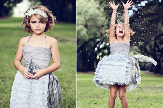 Silver fringe flower girl dress