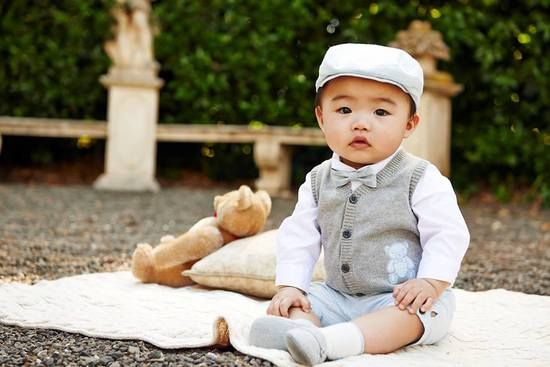 dapper ring bearer outfit in gray and sky blue