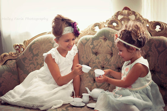 Pale Turquoise And White Flower Girl Dresses