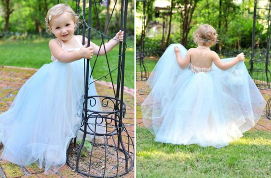 Pale Blue Tulle Flower Girl Dress