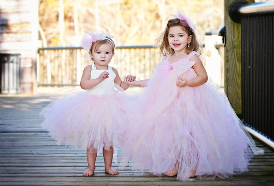 Pink tulle whimsical flower girl dresses