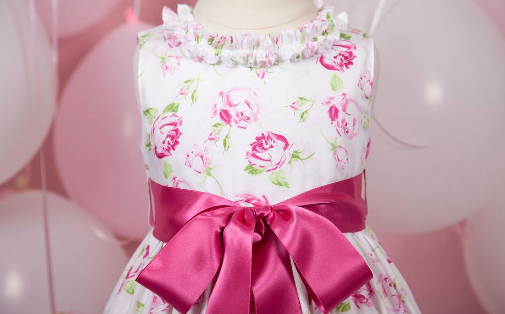 White pink and green floral flower girl dress mightylinksfo