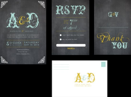 Chalkboard Chic Wedding Invitations