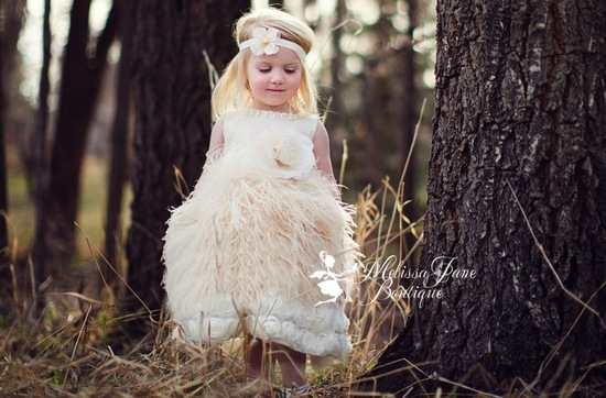 ivory feather and rosette flower girl dress