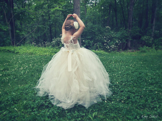 voluminous cream tulle flower girl dress