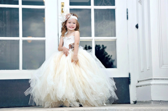 ivory vintage inspired tulle bridesmaid dress