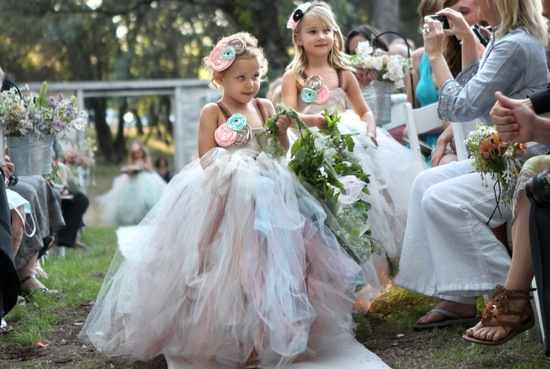 Pastel Rainbow Tulle Flower Girl Dress