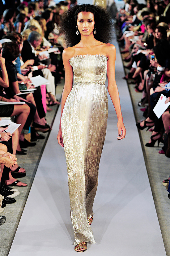 Sleek gold column wedding dress by Oscar de la Renta