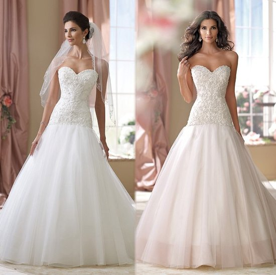 Beaded Sleeveless Wedding Gown