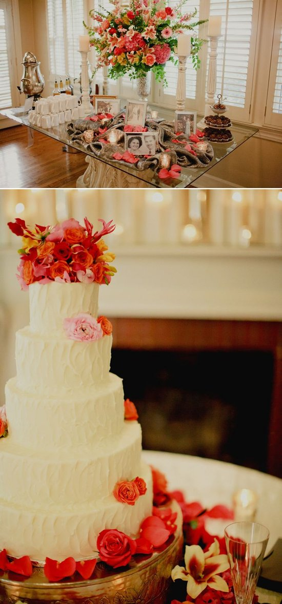 Bright wedding flowers, classic ivory wedding cake