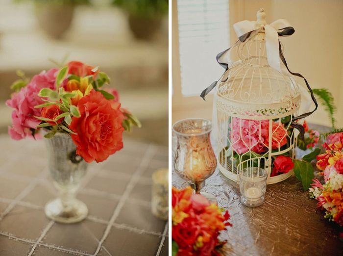 Vibrant wedding reception centerpieces and wedding flowers