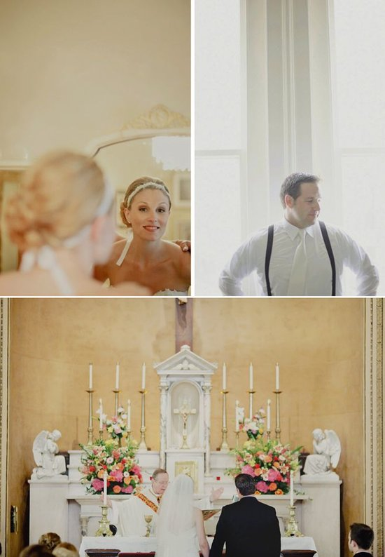Destination wedding bride and groom get ready for traditional Catholic church ceremony