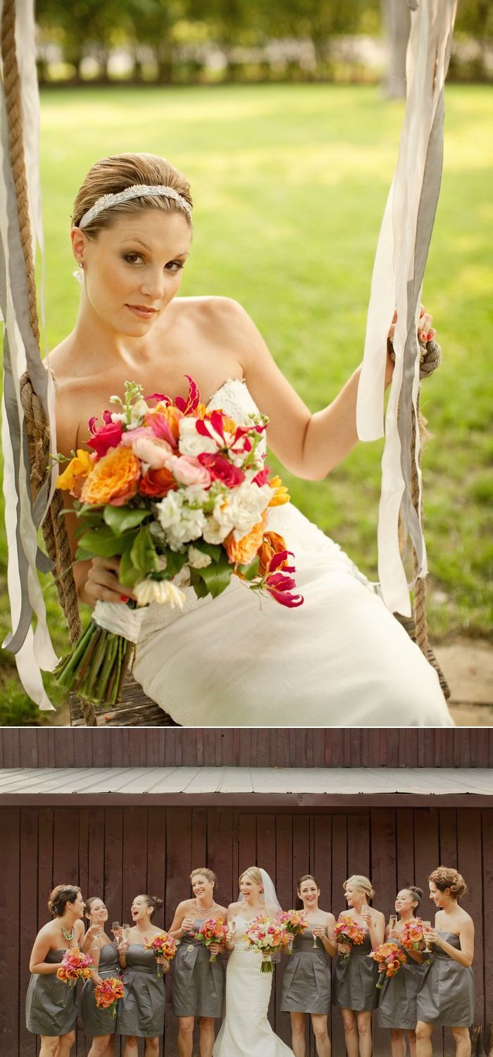 Elegant-bride-wears-ivory-wedding-dress-holds-colorful-wedding-flowers-poses-with-bridesmaids.full