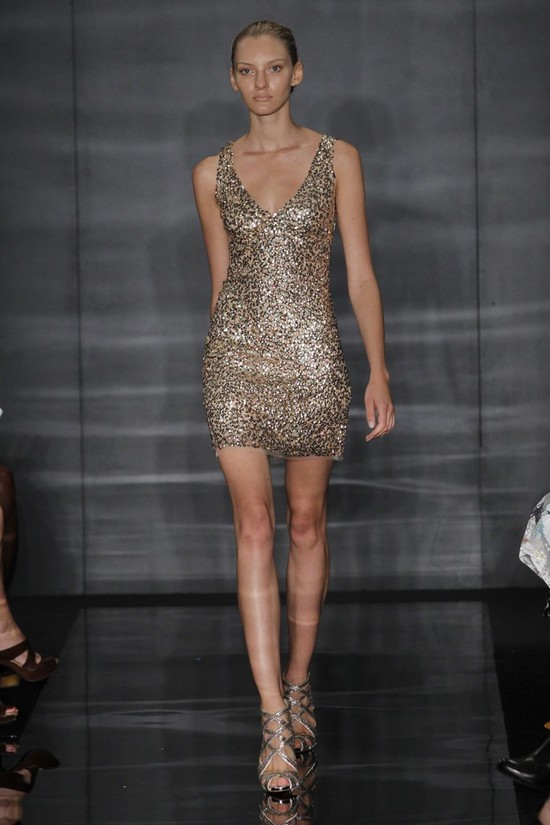 Gold sequined mini dress for the wedding reception or rehearsal dinner
