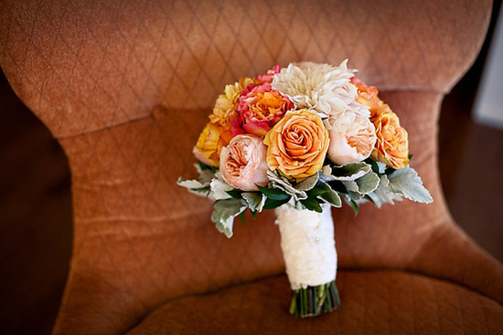 Burnt orange peach and ivory wedding bouquet