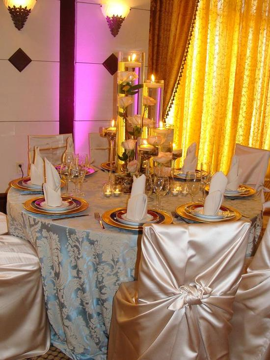 French Blue Lyons Damask With Cashmere Satin Chair Covers