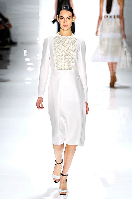 Elegant white wedding reception dress by Derek Lam