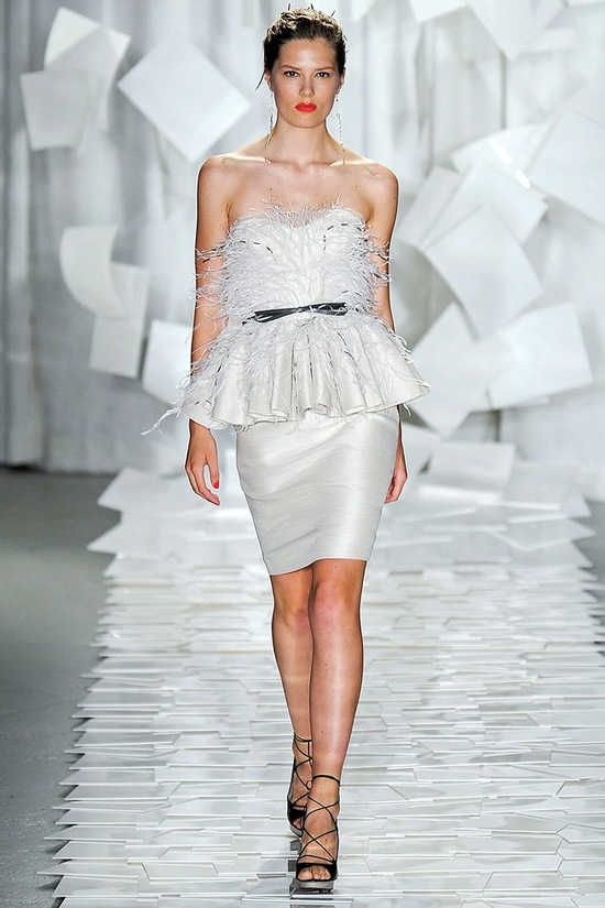 Feather-embellished wedding reception dress by Jason Wu
