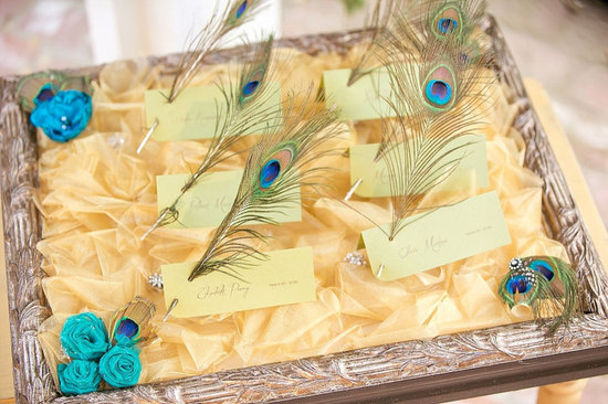 regal wedding escort card display with peacock feathers